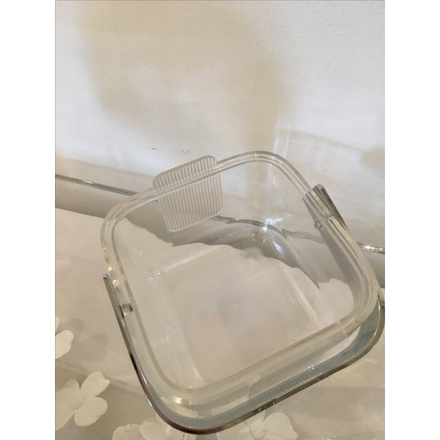 Image of Mid-Century Modern Italian Signed Lucite and Chrome Guzzini Ice Bucket