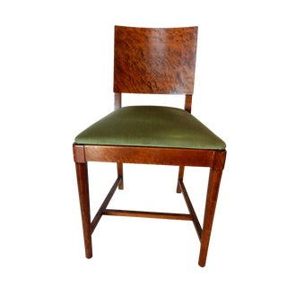Mid-Century Velvet Upholstered Amboyna Wood Chair