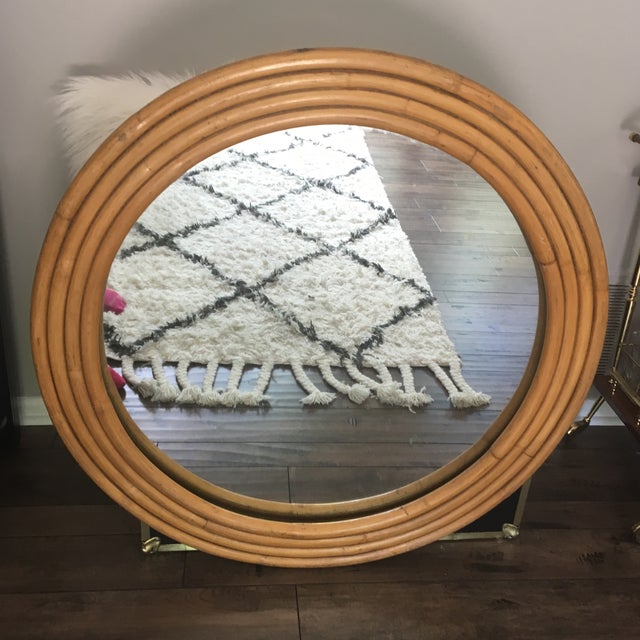 "Rattan Framed Round Mirror 30.5"" - Image 2 of 7"