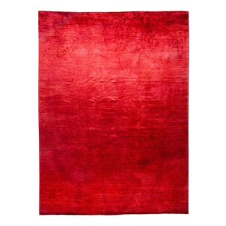 "Vibrance, Hand Knotted Red Wool Area Rug - 9' 1"" X 11' 10"""