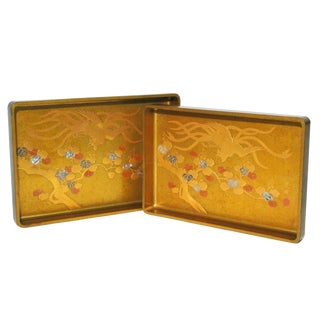 Japanese Meji Lacquer Stacking Trays - A Pair