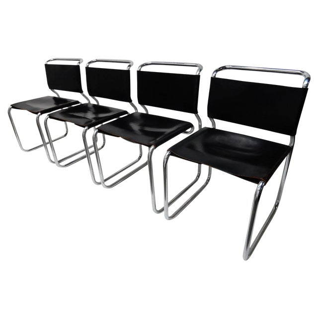 Nico Zograph Chrome Leather Sling Chairs - S/4 - Image 1 of 10