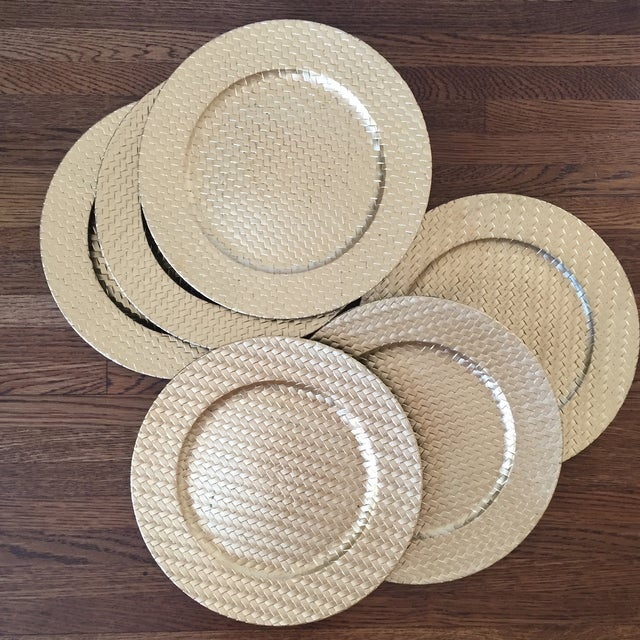 Gold Woven Plastic Charger Plates - Set of 6 - Image 2 of 4