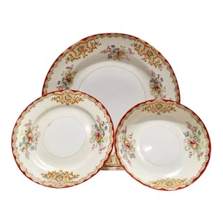Japanese Hand-Painted Porcelain Dinnerware S/12