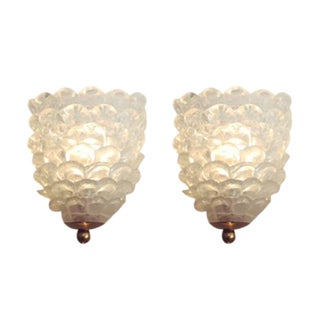 Solid Glass Bubble Sconces - A Pair