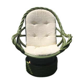 Vintage Olive Twist Rattan Swivel Rocking Chair