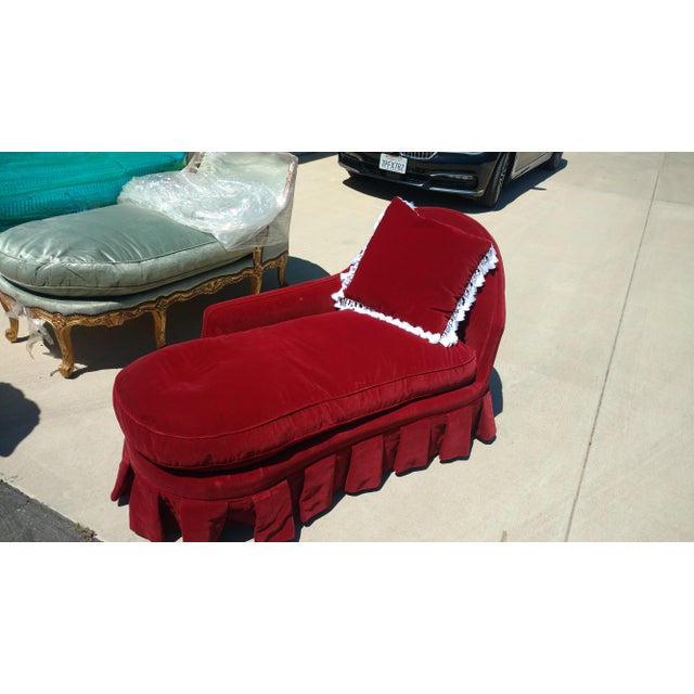 Antique Red Velvet Chaise Lounge - Image 3 of 4