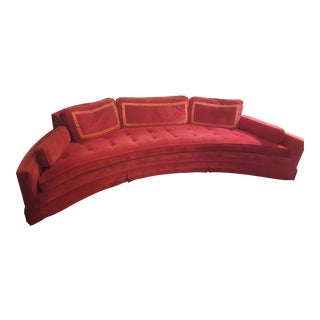 Harvey Probber Red Velvet Crescent Sofa