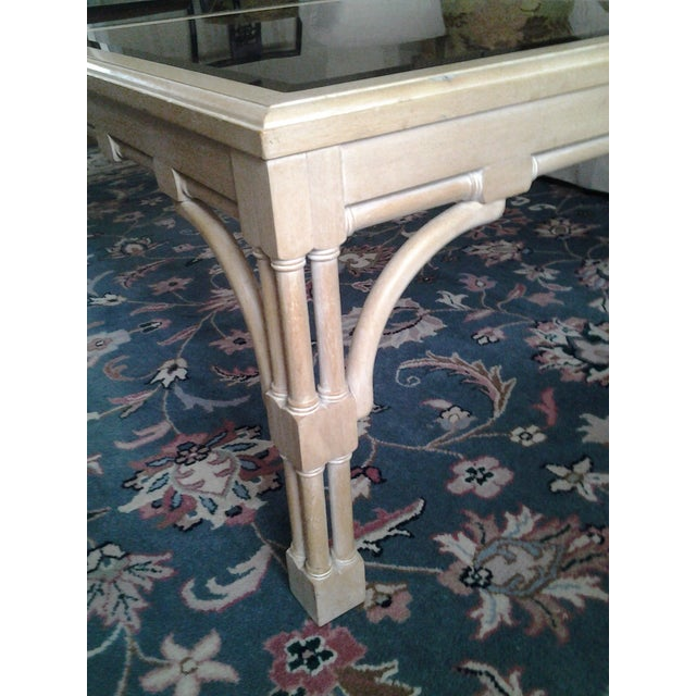 Transitional Wood & Glass Coffee Table - Image 4 of 7