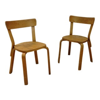 Distressed Vintage Alvar Aalto No. 69 Chairs by Artek