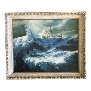 """1963 Bonnie Posselli """"Storm Tossed"""" Nautical Oil Painting"""