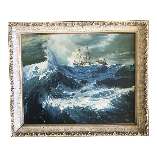 "1963 Bonnie Posselli ""Storm Tossed"" Nautical Oil Painting - Image 1 of 8"
