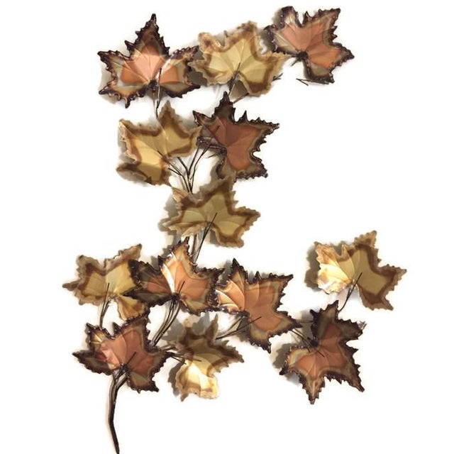 Vintage Jere Style Copper Brass Maple Leaves Metal Wall Art - Image 4 of 6