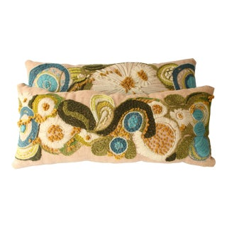 Abstract Floral Crewel Pillows - Pair