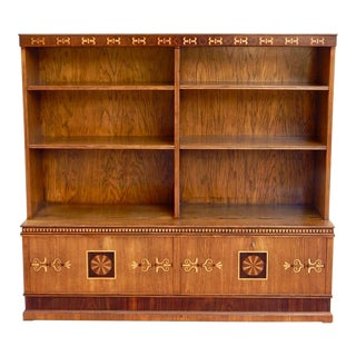 Late Arts and Crafts Inlaid Bookcase in Elm and Rosewood, Sweden, 1920