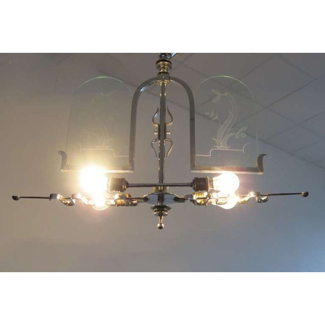 Italian Etched Glass Deco Chandelier - Image 3 of 9
