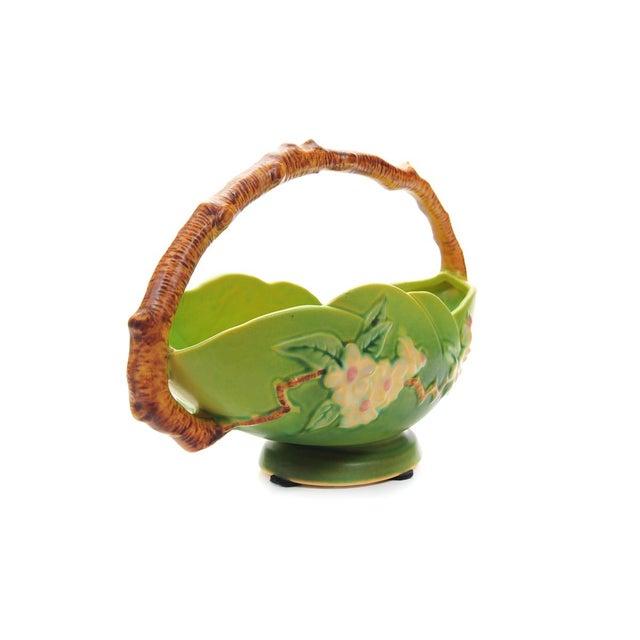 Antique Roseville Pottery Green Basket - Image 5 of 10