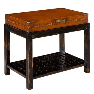 Sarreid LTD 'Clifton' Walnut & Leather Side Table