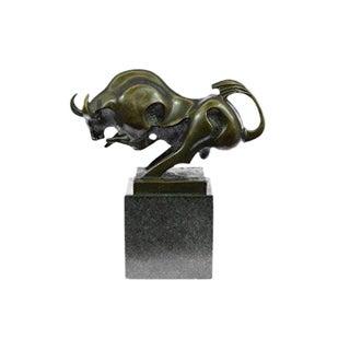 Modern Abstract Bronze & Marble Charging Bull Bronze Sculpture