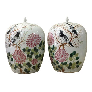 Chinese White Porcelain Flower Birds Jars - A Pair
