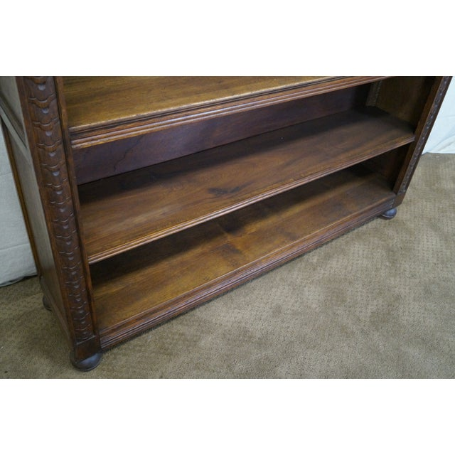 English Tudor Oak Large Open Bookcase - Image 5 of 10