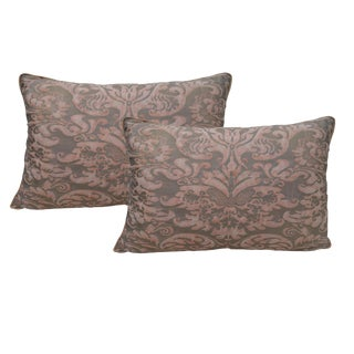 Silvery Gold & Salmon Fortuny Textile Pillows - A Pair