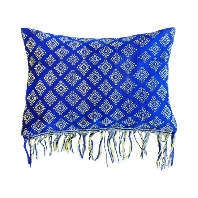 Indigo Ikat Pillow Cover, Indigo Boho Pillows - Image 1 of 3