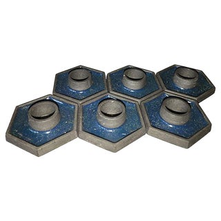 Blue Retro Hexagon Candle Holders - Set of 6