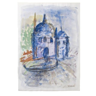 Istanbul in Blue Watercolor Painting