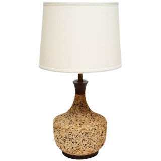 Scandinavian Modern 1960 Cork and Teak Table Lamp