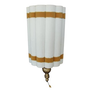 Mid-Century Hollywood Regency Scalloped Cylinder Pendant Lamp