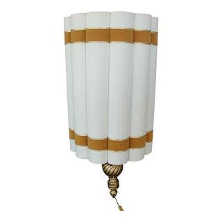 Mid-Century Hollywood Regency Scalloped Cylinder Pendant Lamp