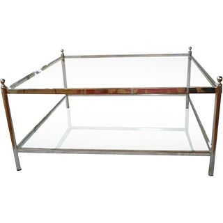 French Glass & Chrome Coffee Table