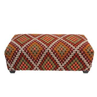 Vintage Kilim Rug Ottoman