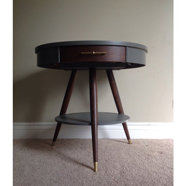 Mid-Century Tripod Leg Table with Drawer - Image 2 of 7
