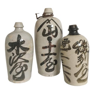Antique Japanese Sake Bottles - Set of 3