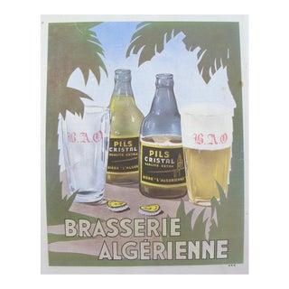 Art Deco Brasserie Algerienne Magazine Cover, Pils Cristal Beer, Original Print