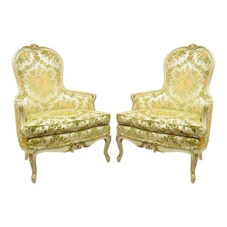Vintage French Provincial Louis XV Style Carved Lounge Chairs - A Pair