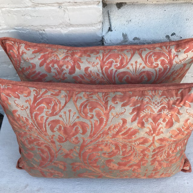 Fortuny Silvery Gold Textile Pillows - A Pair - Image 4 of 5