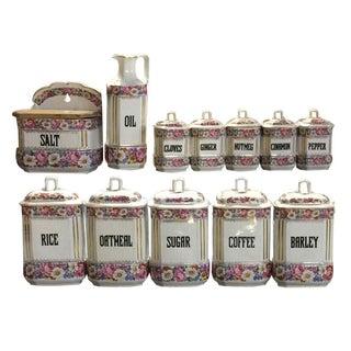 Floral Porcelain Canisters - Set of 12