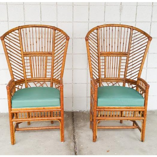 Bamboo High Back Arm Chairs- A Pair - Image 2 of 6