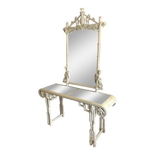 Gampel Stoll Faux Bamboo Console and Mirror