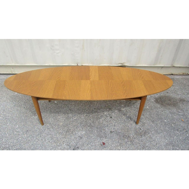 Oval low profile wood coffee table chairish for Low coffee table wood