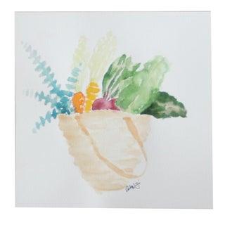 """""""Farmers Market Tote"""" Original Watercolor Painting"""