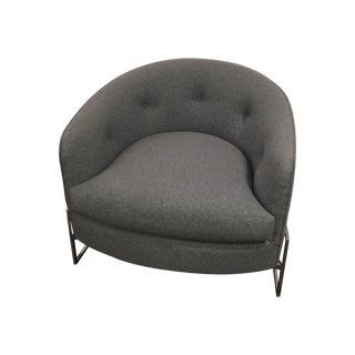 Milo Baughman Gray & Chrome Base Tub Chair