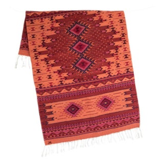 Red Handwoven Oaxaca Wool Rug - 2.6' x 5'