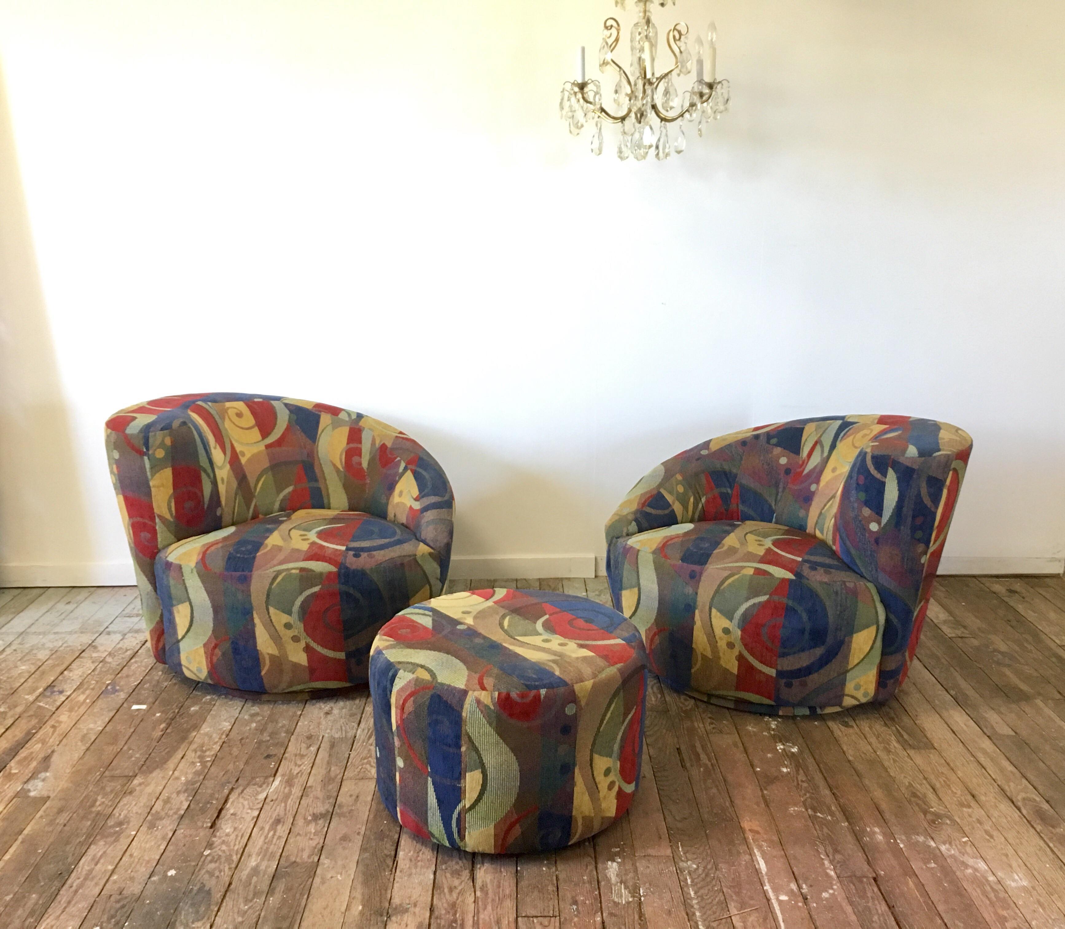 Vladimir Kagan Nautilus Swivel Chairs U0026 Ottoman   Set Of 3   Image 5 Of 10