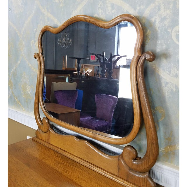 Antique Victorian Quartered Oak Dresser & Mirror - Image 4 of 9