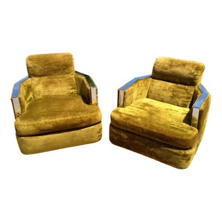 Carson's Velvet & Chrome Club Chairs - A Pair