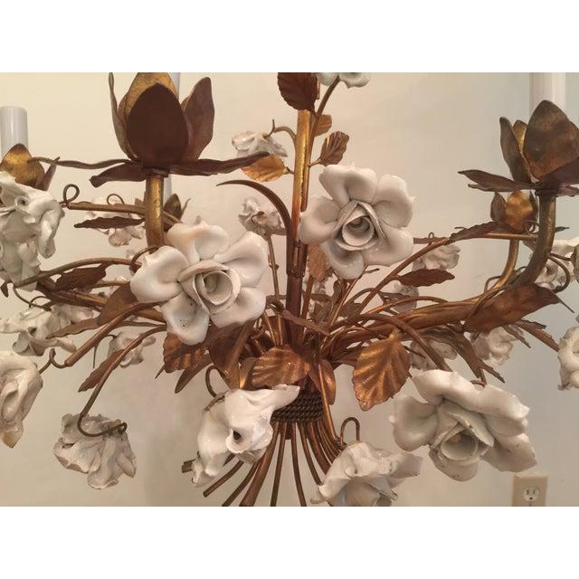 Vintage 1960s Italian Porcelain Flowers Chandelier - Image 3 of 6